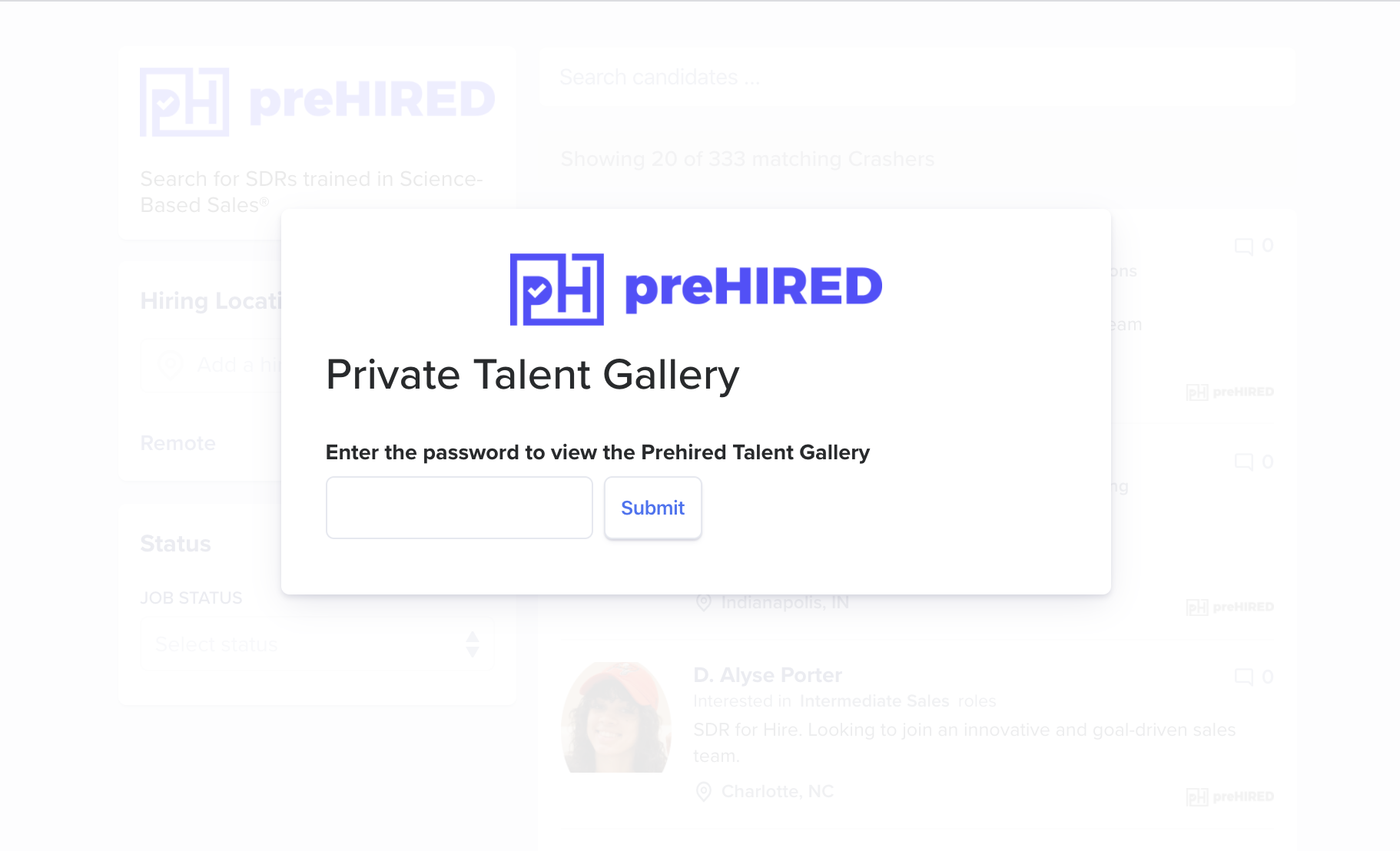preHIRED student job seeker private gallery