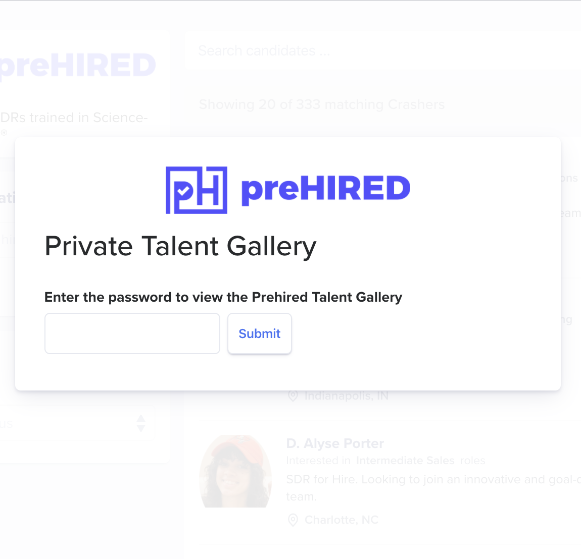 preHIRED student job seeker private gallery mobile