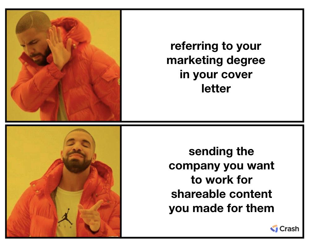 job hunting drake meme resume vs website and projects