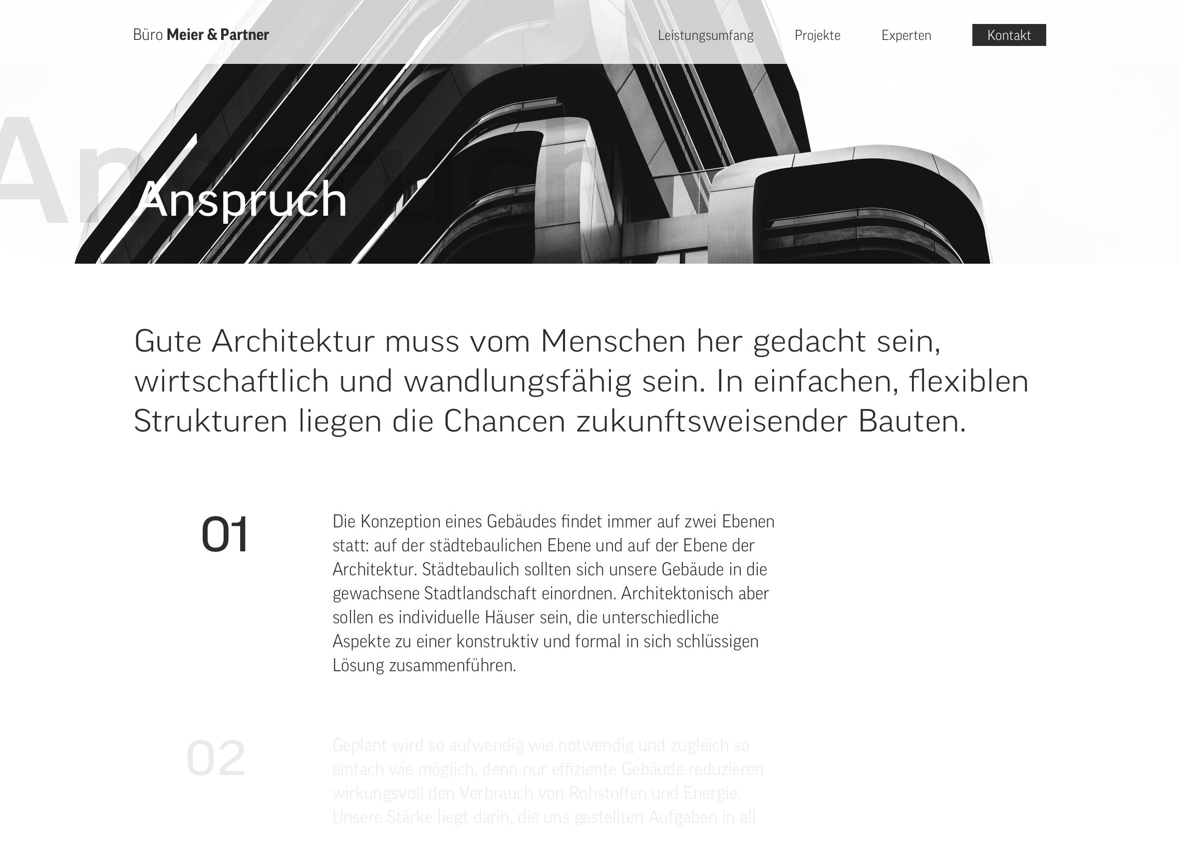 Webseiten-Layout für einen Architektur-Büro