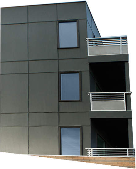 Side angle view of modern apartments featuring Allura Beyond Panels