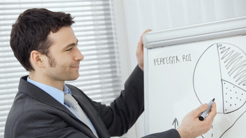 PERFEQTA salesman showing executives ROI potential