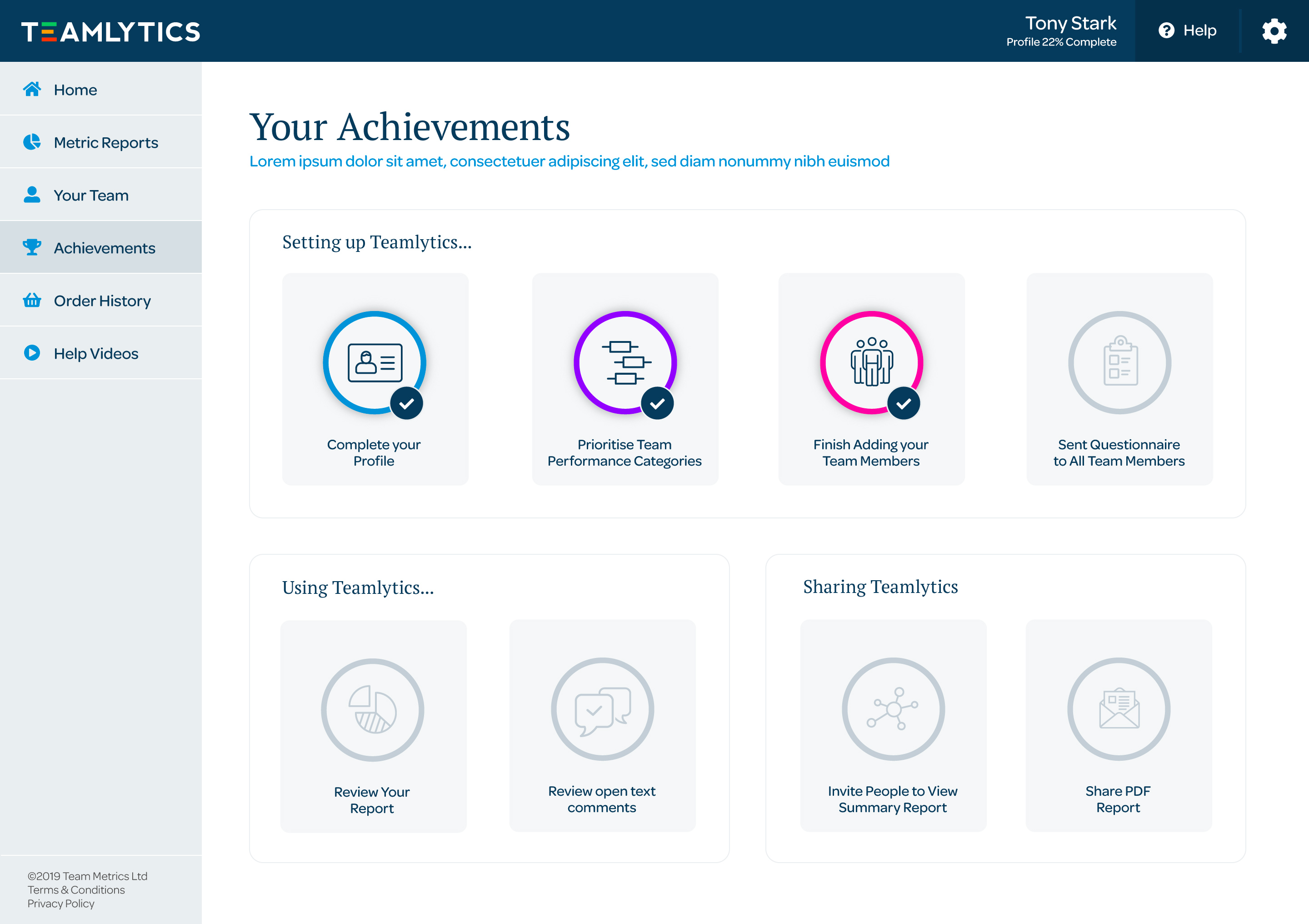 Achievements add a gamification layer, enticing the user to complete required steps