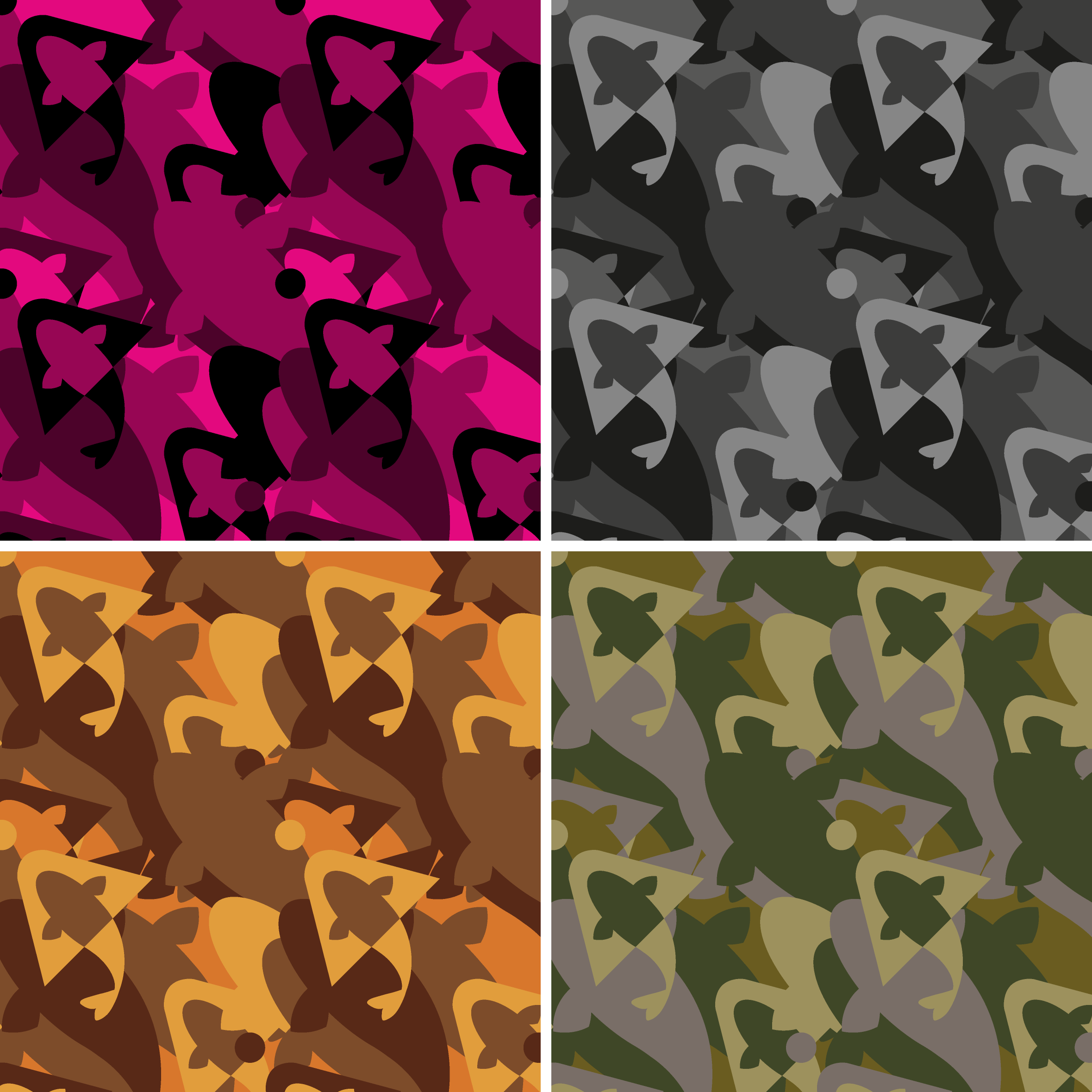 Selection of 'camo' background patterns used to differentiate product sectors