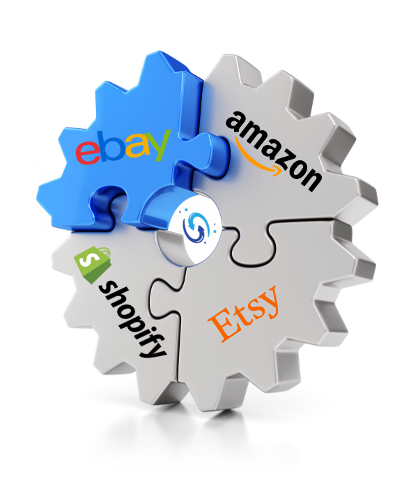 ebay to amazon, shopify, etsy, ebid connected wheel