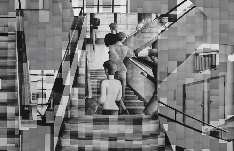 bauhaus photography Katharina Gaenssler, Bauhaus Staircase, Fotoinstallation, 2015 Ausschnitt