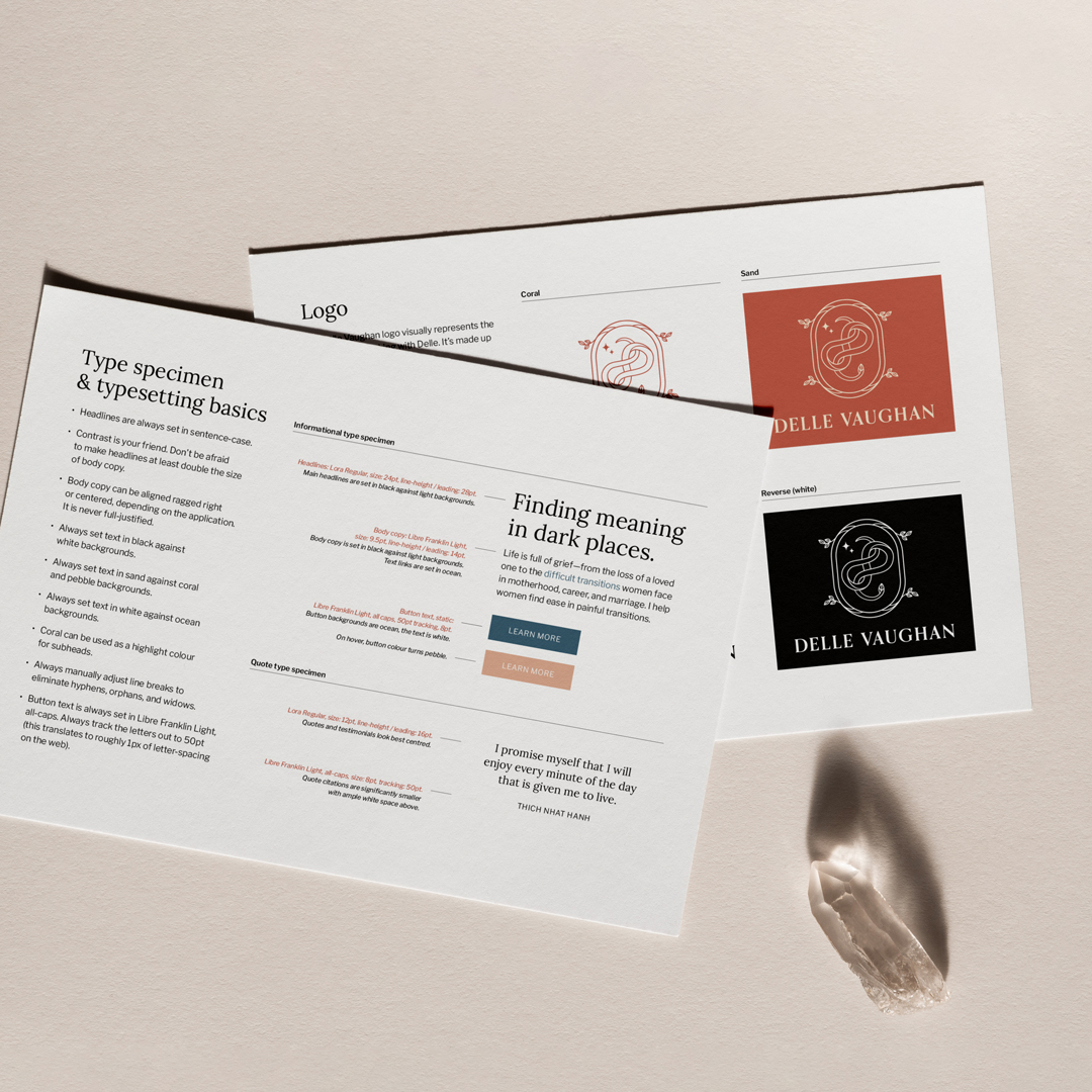 Brand guidelines for Delle Vaughan by Jennifer Miranda.