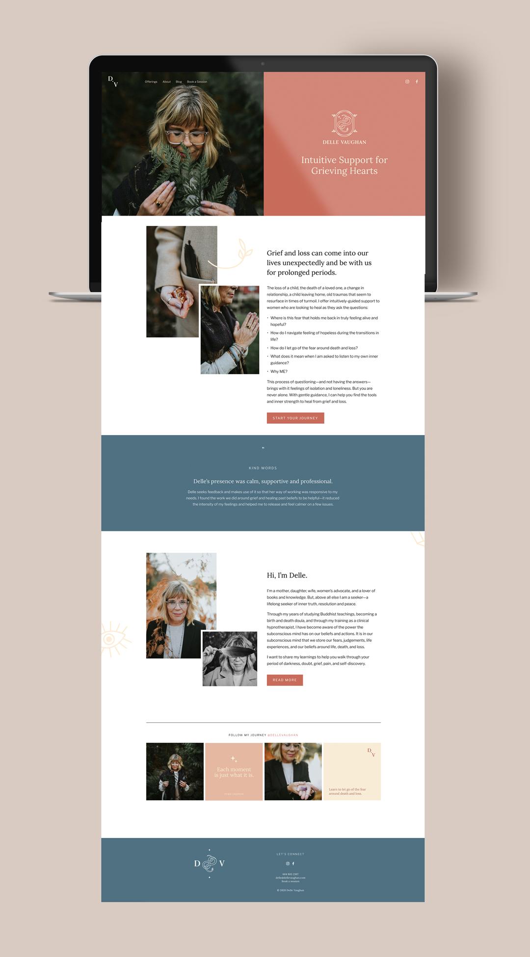 Delle Vaughan brand and website design by Jennifer Miranda.