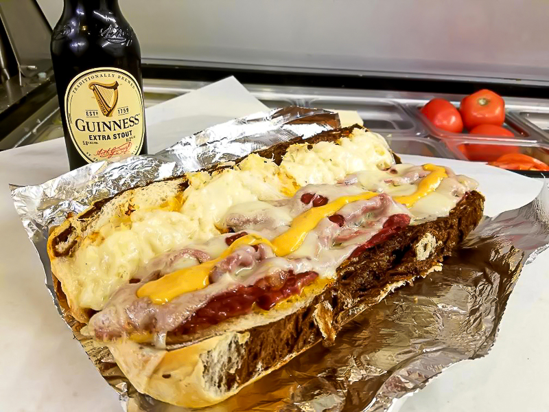 Reuben sub with marble rye roll.