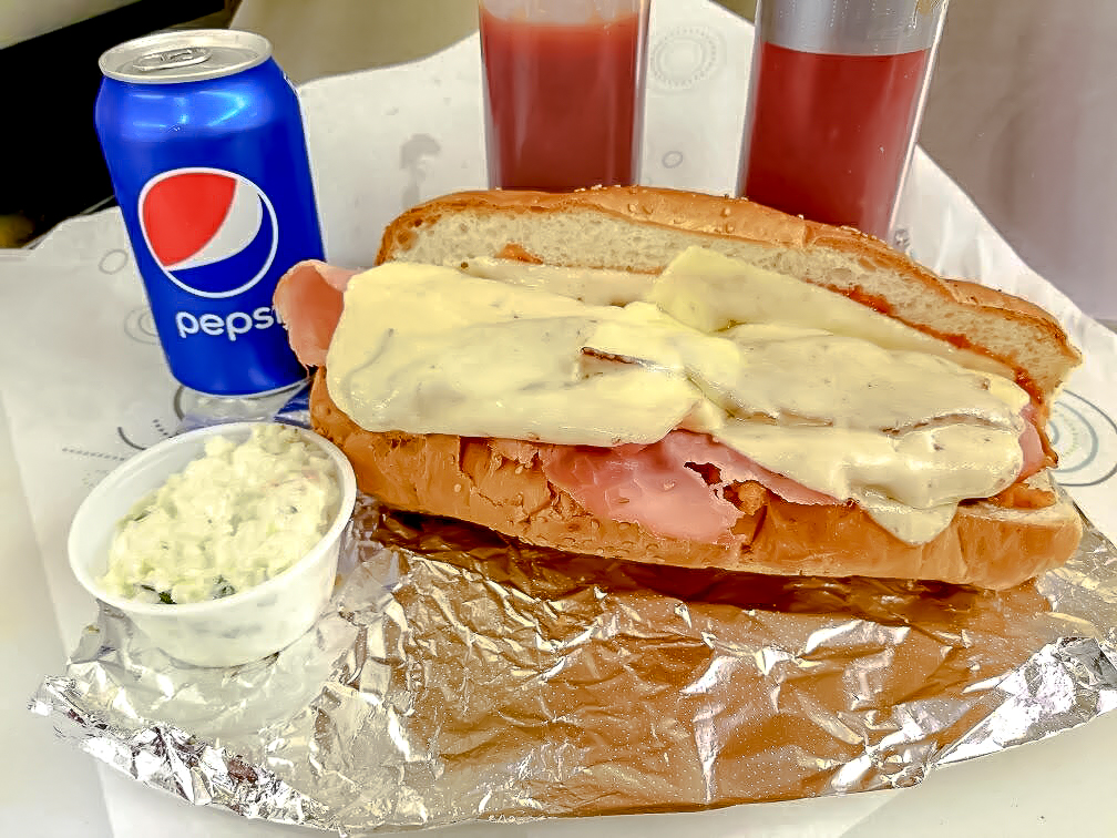 The Aporkalypse sub with can of pop and coleslaw