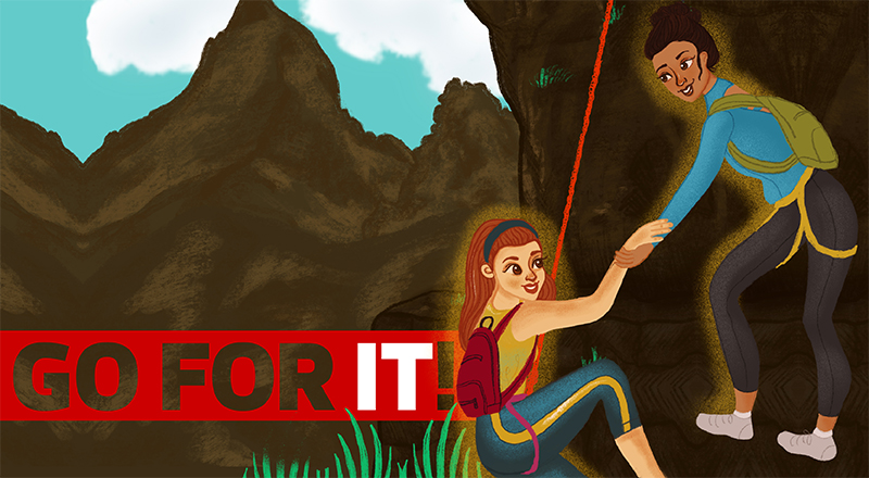 An illustration of two women working together to climb a mountain.