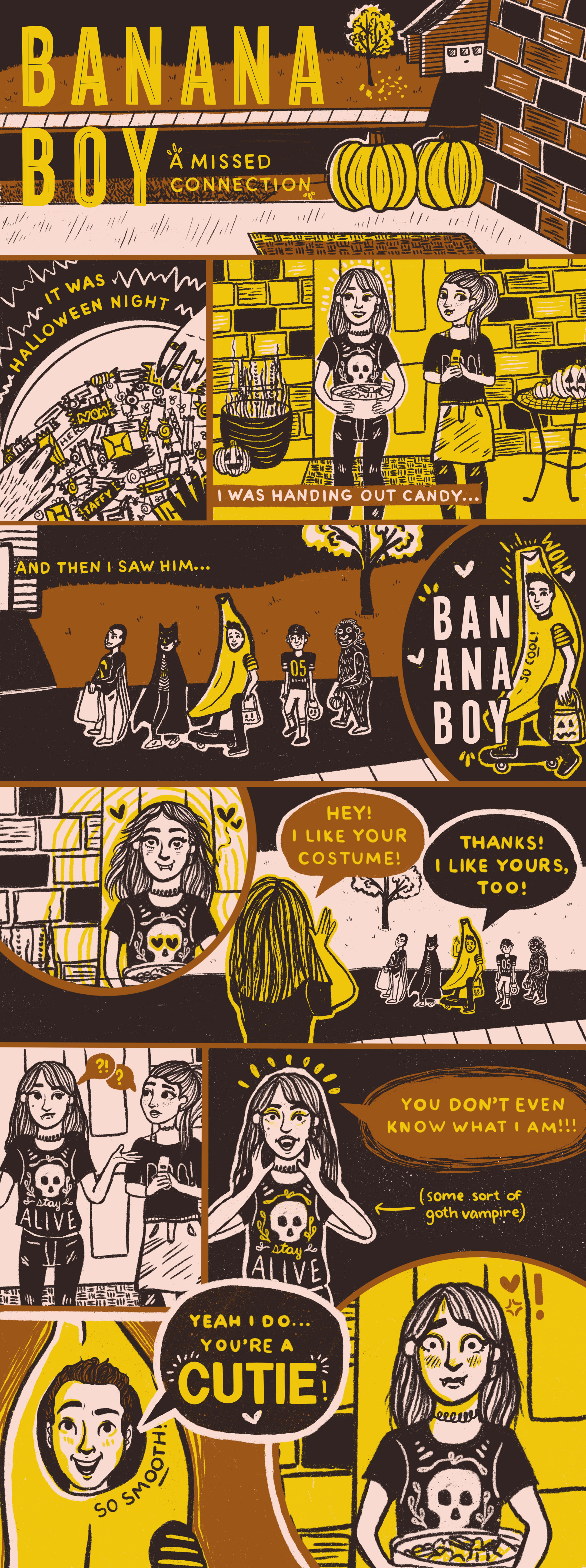 A comic about halloween night and a skateboarding boy dressed in a banana costume.