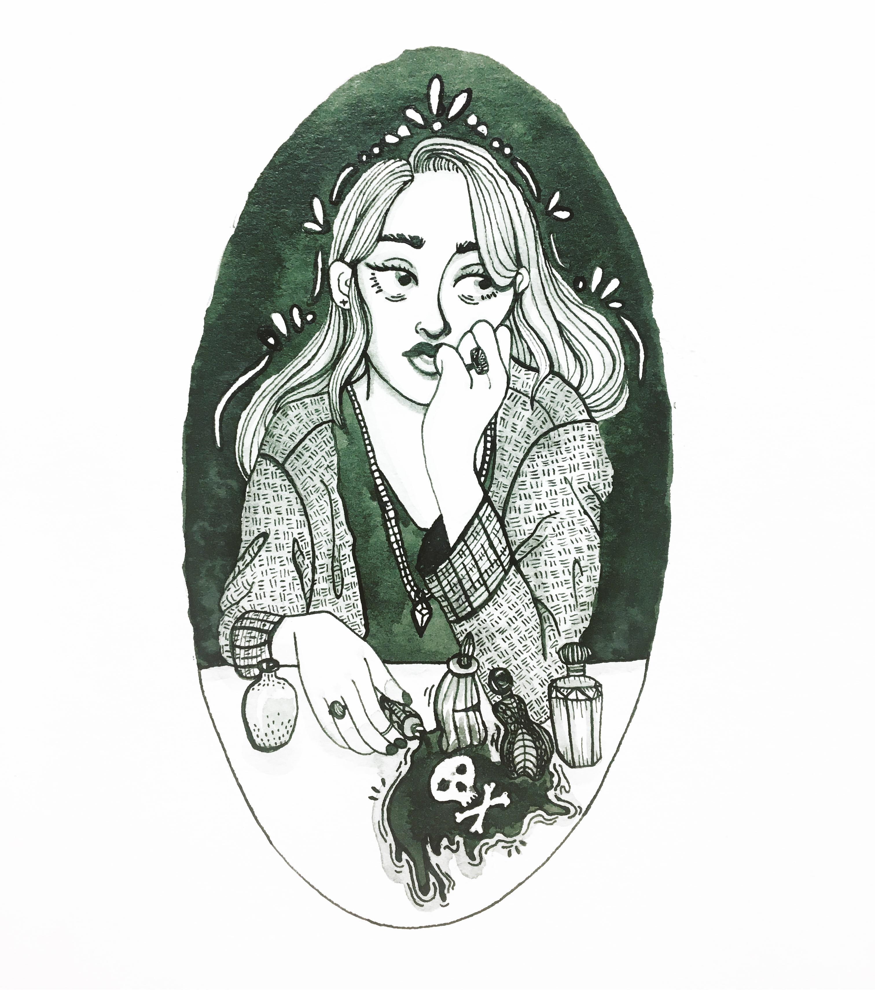 An ink illustration of a girl spilling poison.