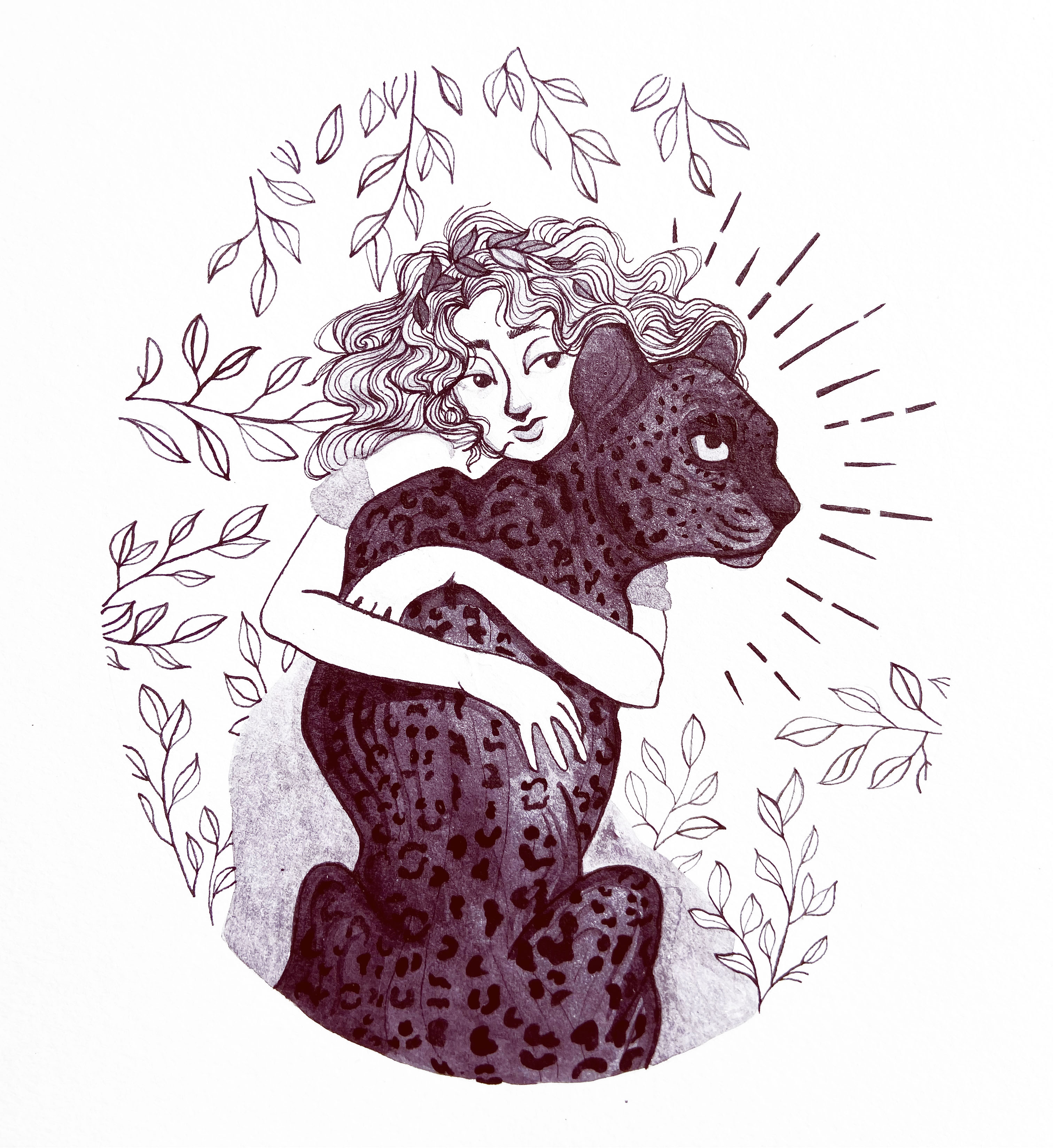 An ink illustration of a woman with a black leopard / panther.