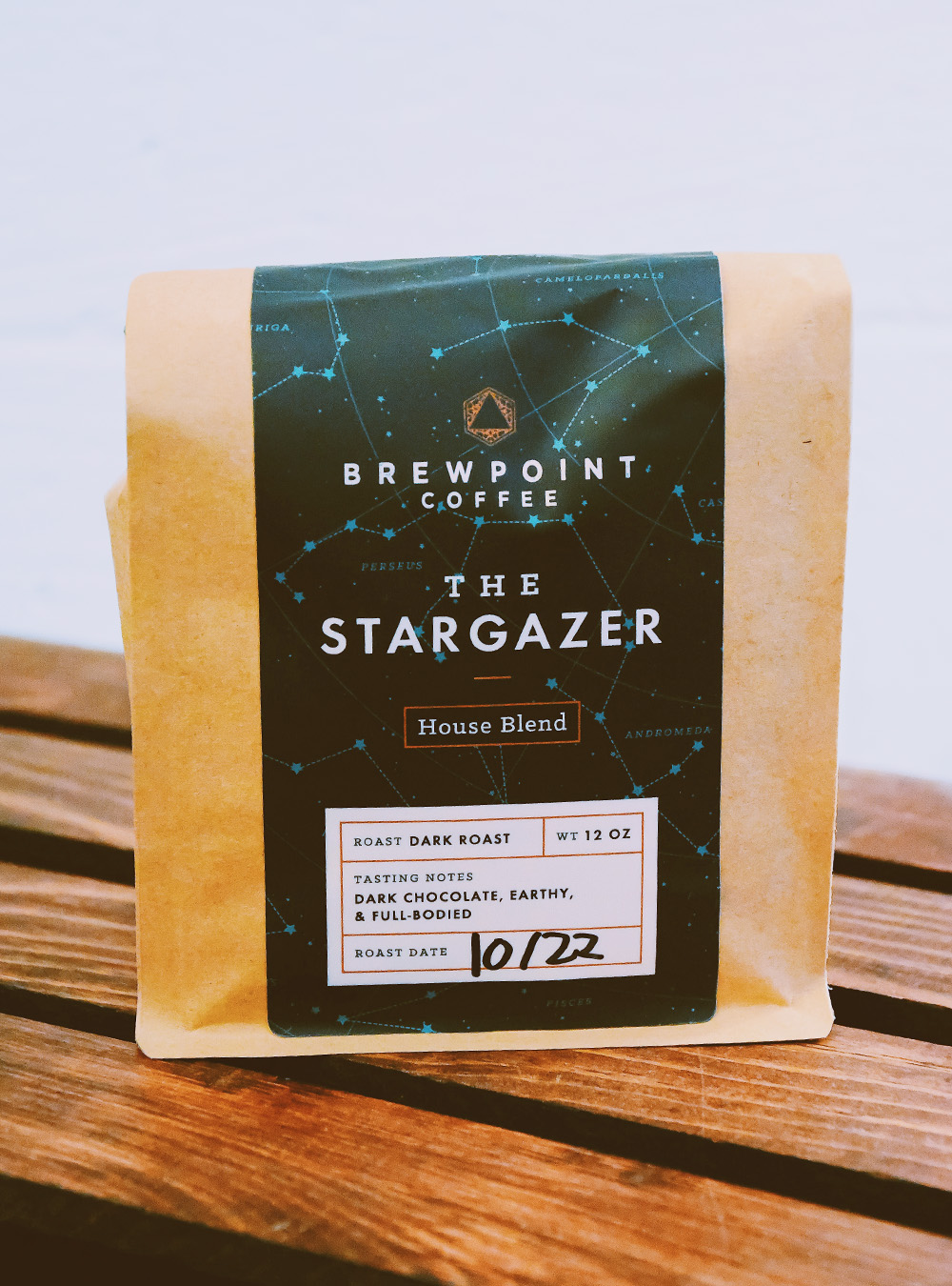 Packaging design for Brewpoint  Coffee's house blend – The Stargazer.