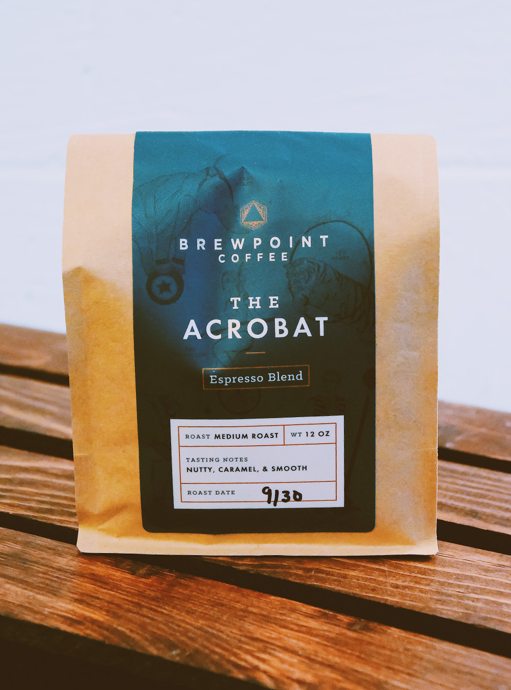 Packaging design for Brewpoint Coffee's espresso blend –The Acrobat.