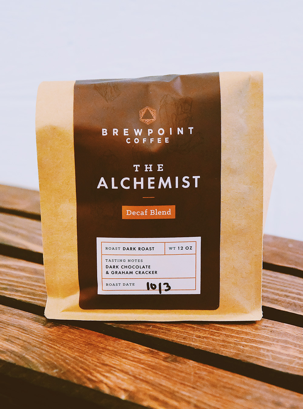 Packaging design for Brewpoint Coffee's decaf blend –The Alchemist.