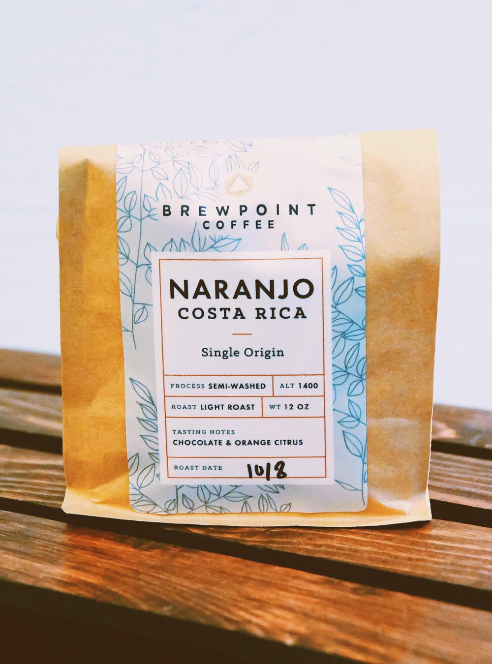 Packaging design for Brewpoint Coffee's single origin Naranjo coffee.