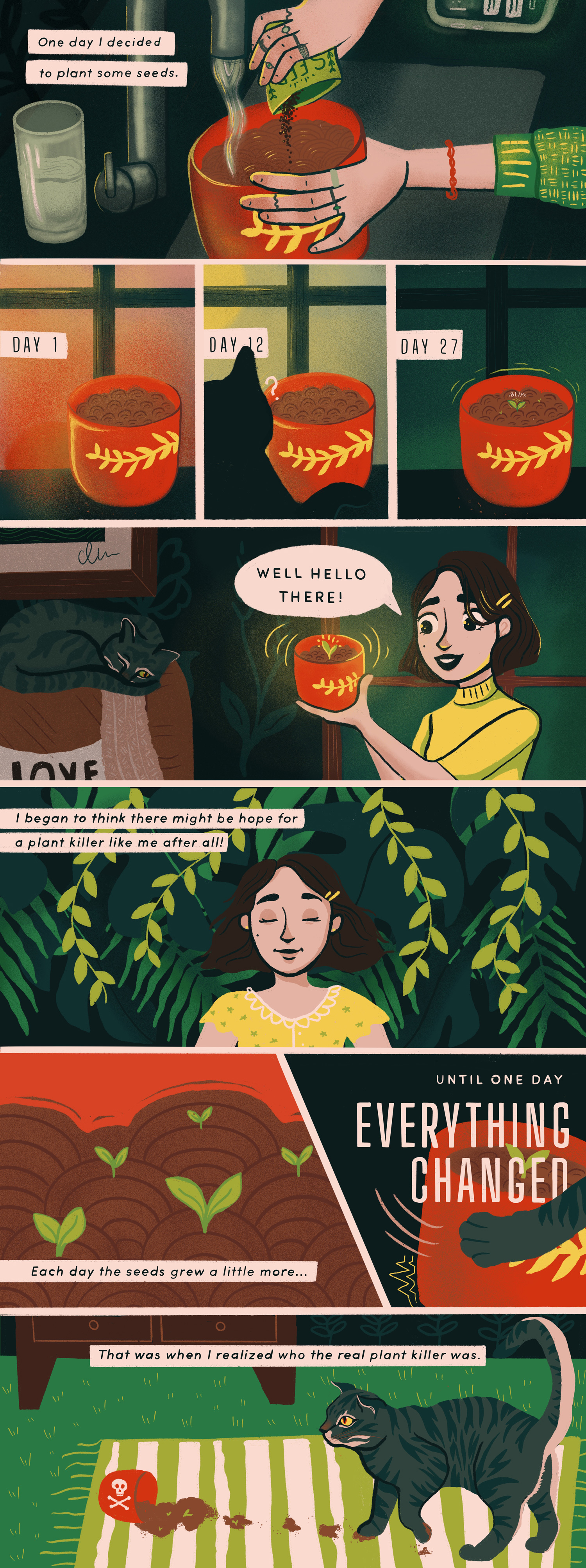 An illustrated comic about the struggle of keeping a plant alive and away from your cat.