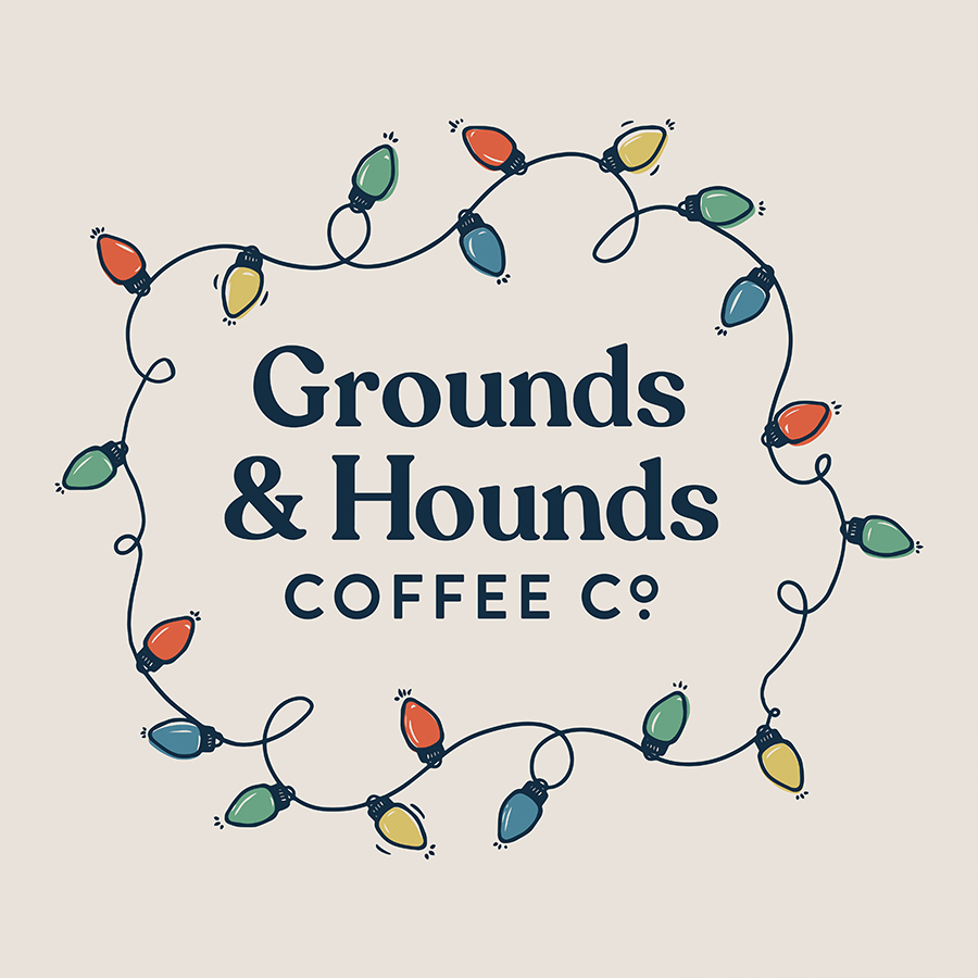 Illustrated Christmas lights encircling the Grounds & Hounds logo.
