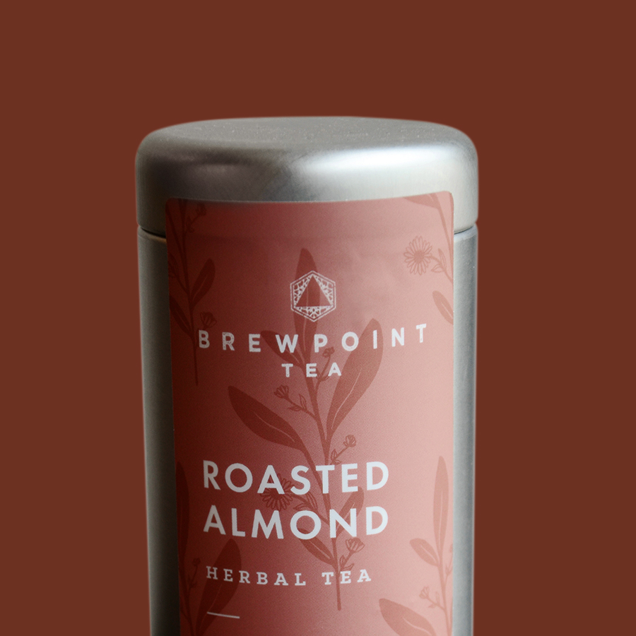 Label design created for Brewpoint Coffee's Roasted Almond tea.