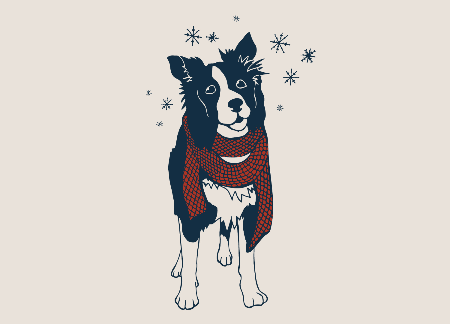 An illustration of a wintery dog wearing a scarf created for Grounds & Hounds Coffee.