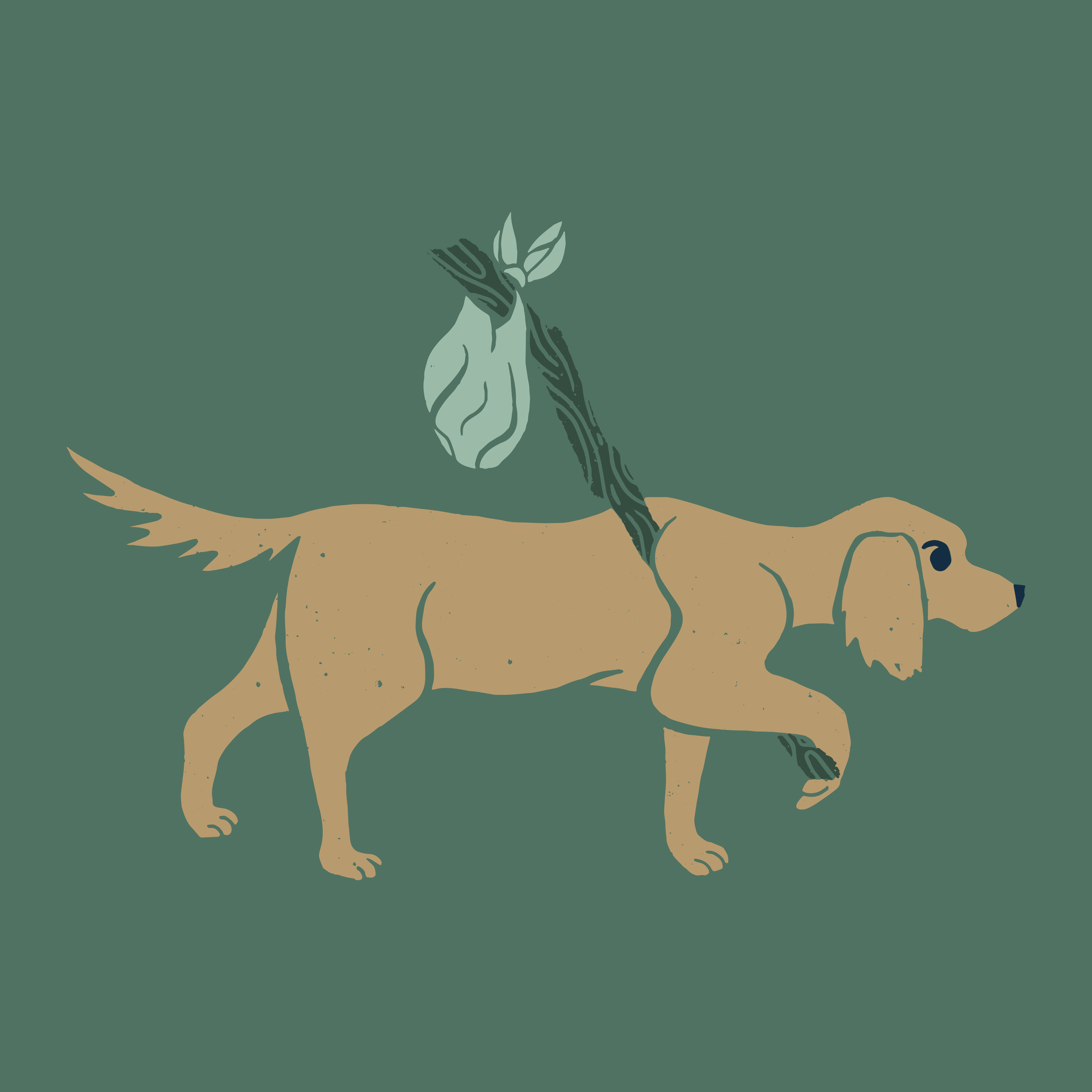 An illustration of a dog carrying a bindle for Grounds & Hounds' Camp Out blend of coffee.