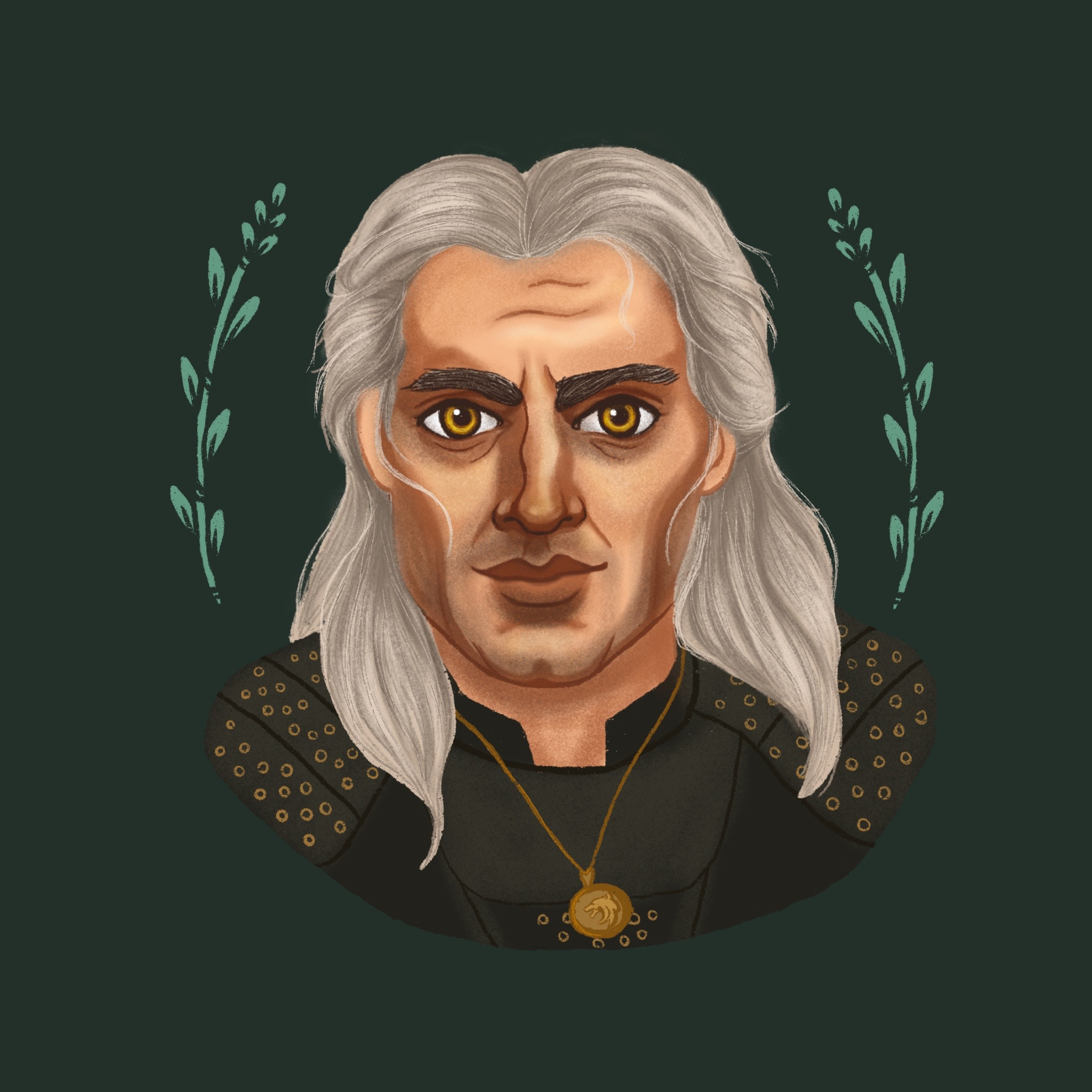 An illustration / portrait of Geralt of Rivia from The Witcher on Netflix.