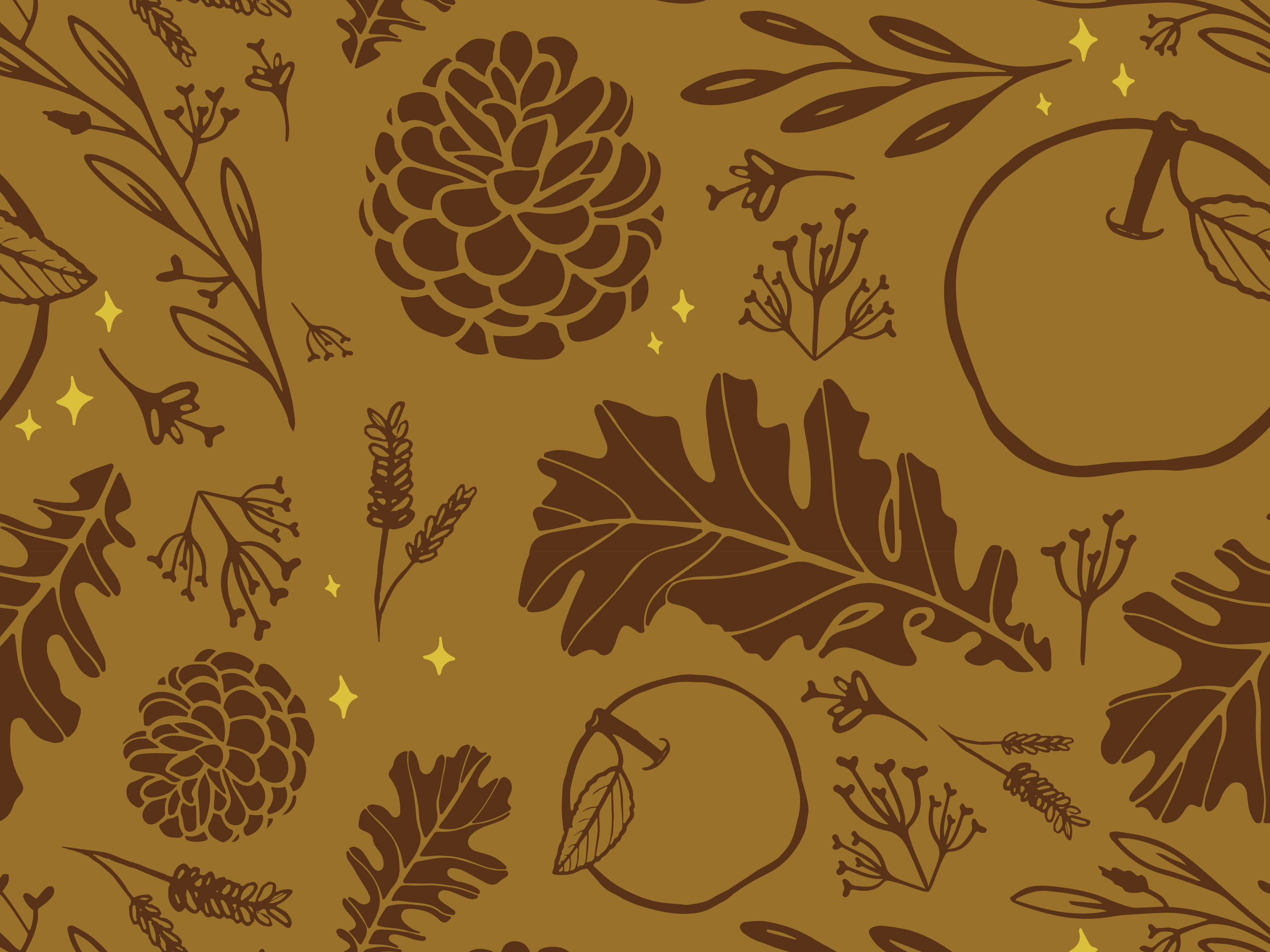An illustrated autumn pattern created for Brewpoint Coffee's fall blend – The Arborist.