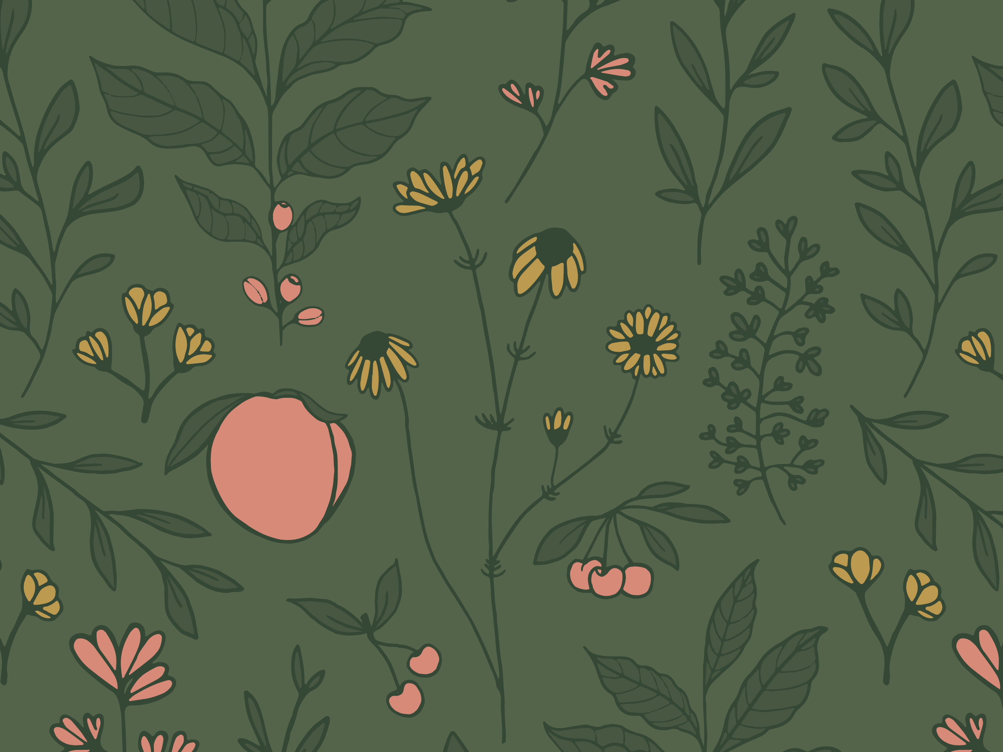 Spring floral pattern illustration created for Brewpoint Coffee's spring blend – The Botanist.