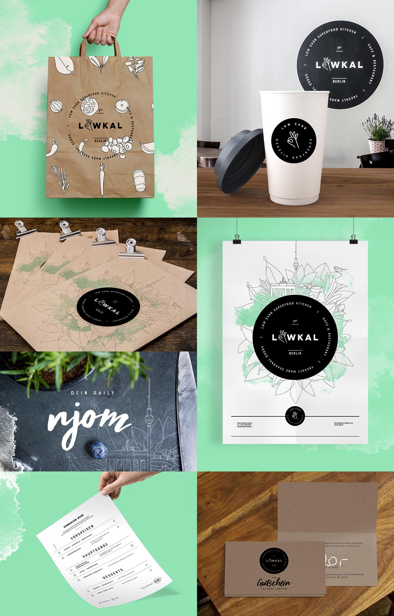 Restaurant-Design, stylische Kaffeebecher, Speisekarten und Bags