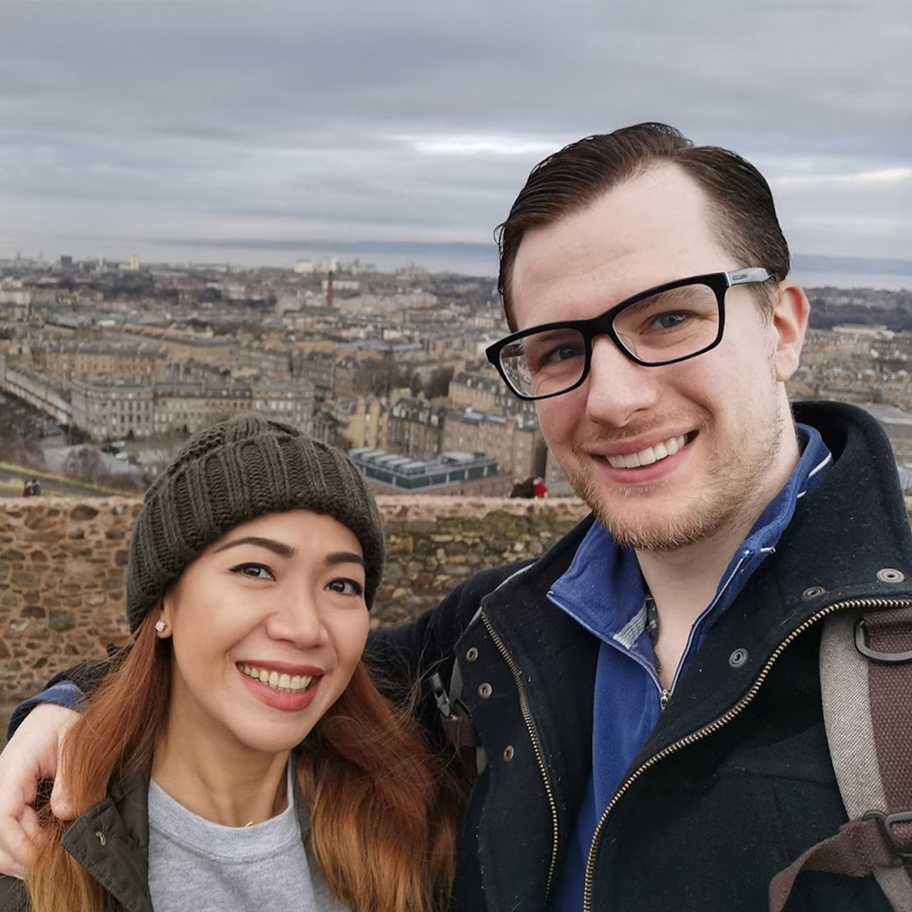 Picture of me and my wife in Edinburgh