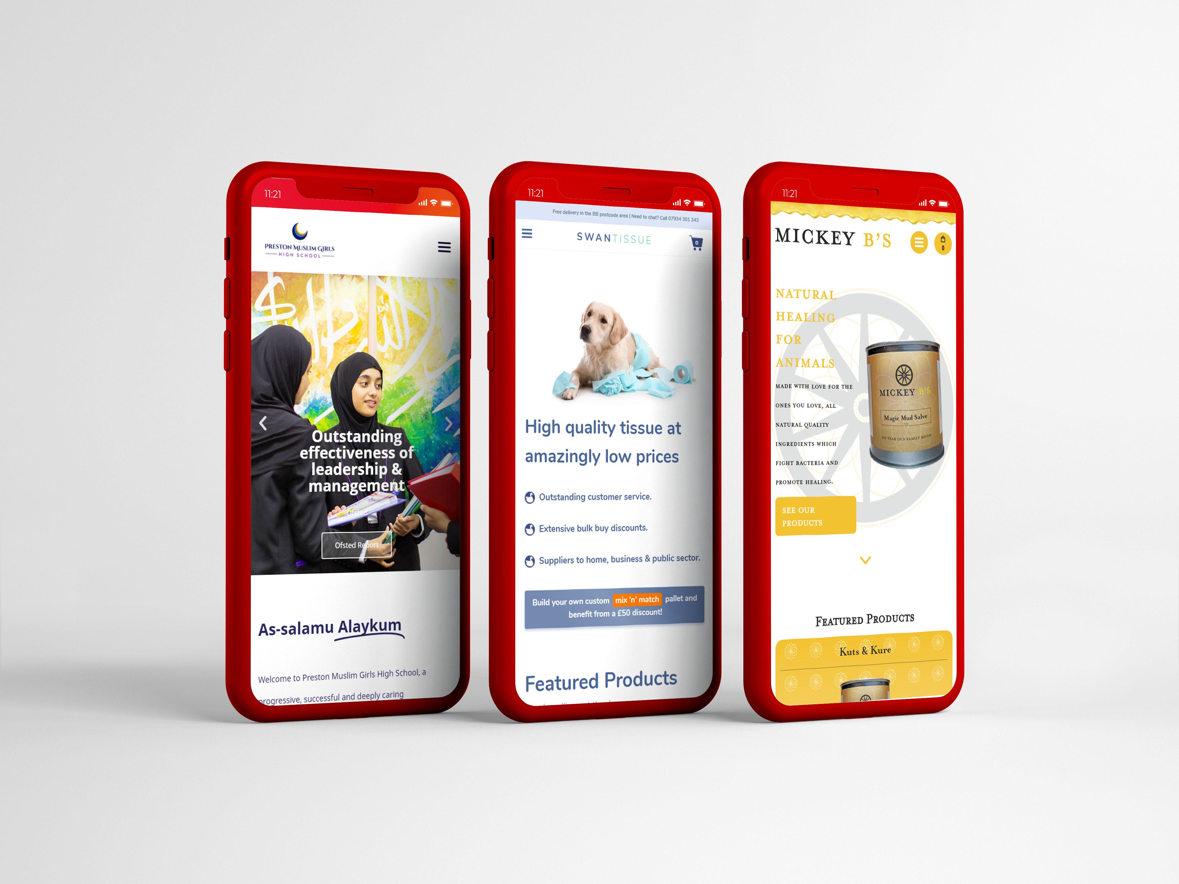 Sample websites shown on red phones
