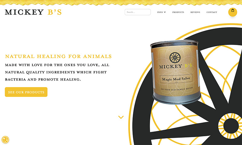 Screenshot of Mickey'Bs Horse & Animal Care Products Website