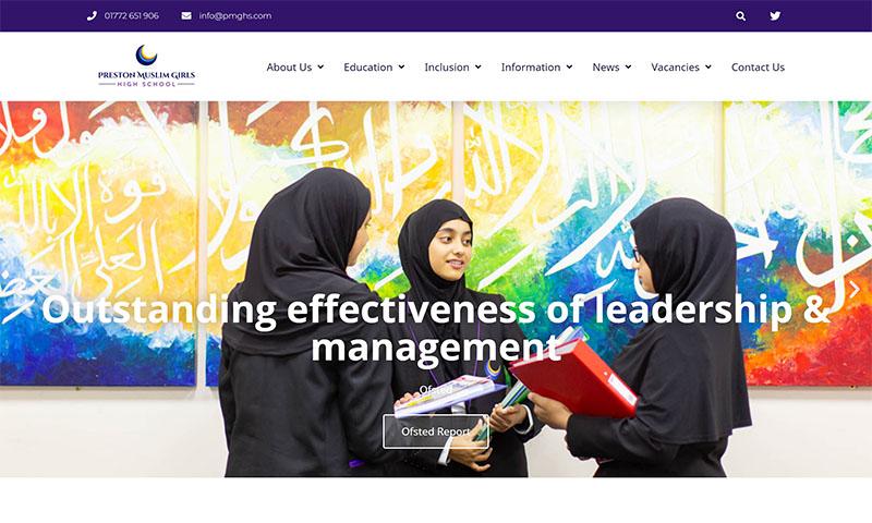 Screenshot of PMGH Preston Muslim Girls High School Website
