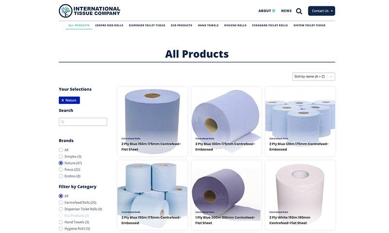 A screenshot of the International Tissue Company Website