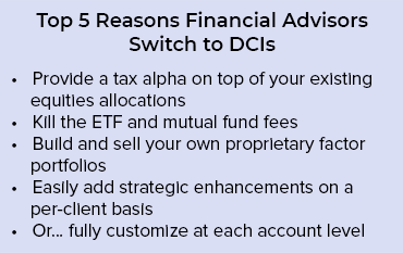 A list describing the top 5 reasons financial advisors switch to Dynamic Custom Indexing technology.