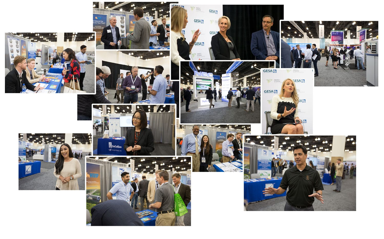 Collage of images of people at a trade show