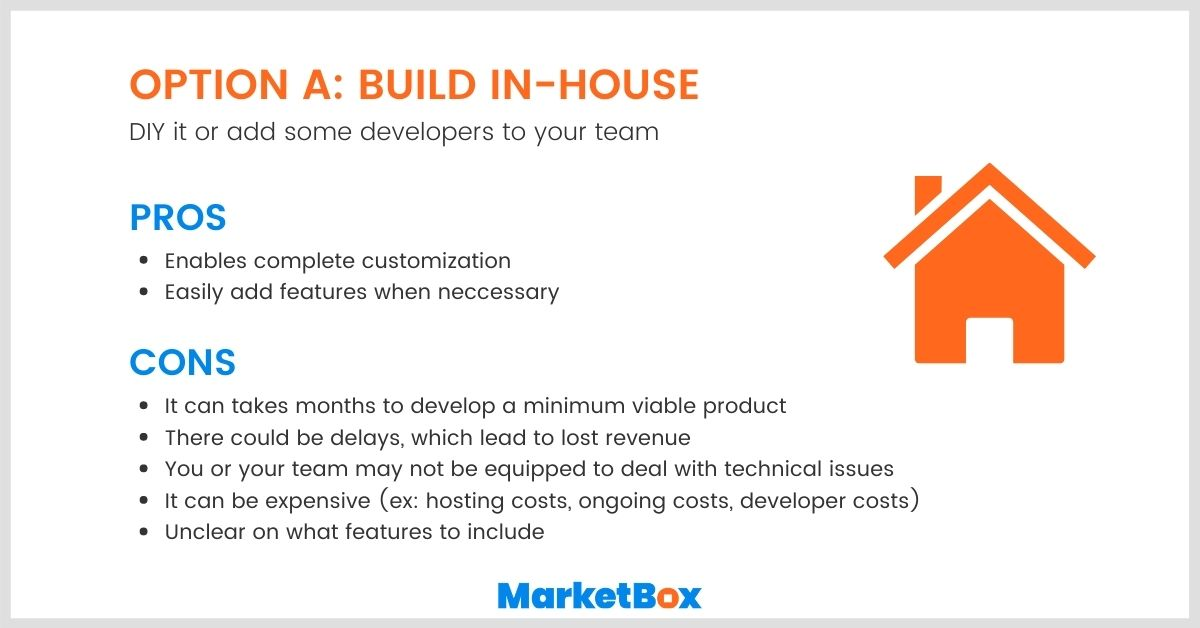 Build vs Buy: The pros and cons of building an online marketplace platform in-house.