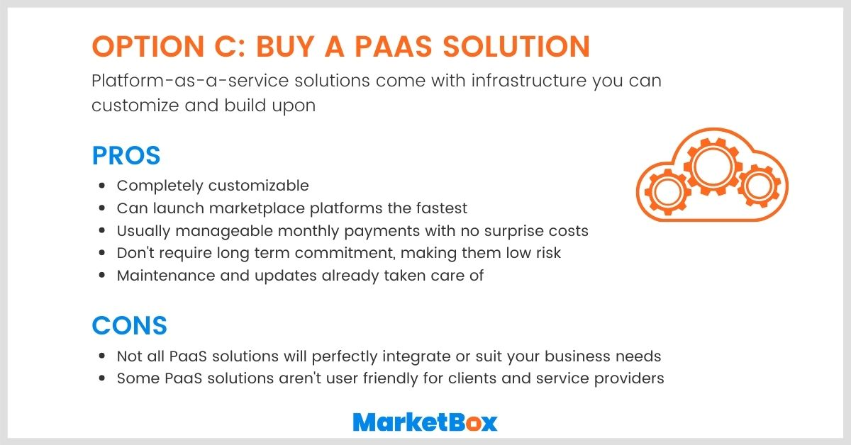 Build vs Buy: The pros and cons of buying a PaaS solution for your online marketplace platform.