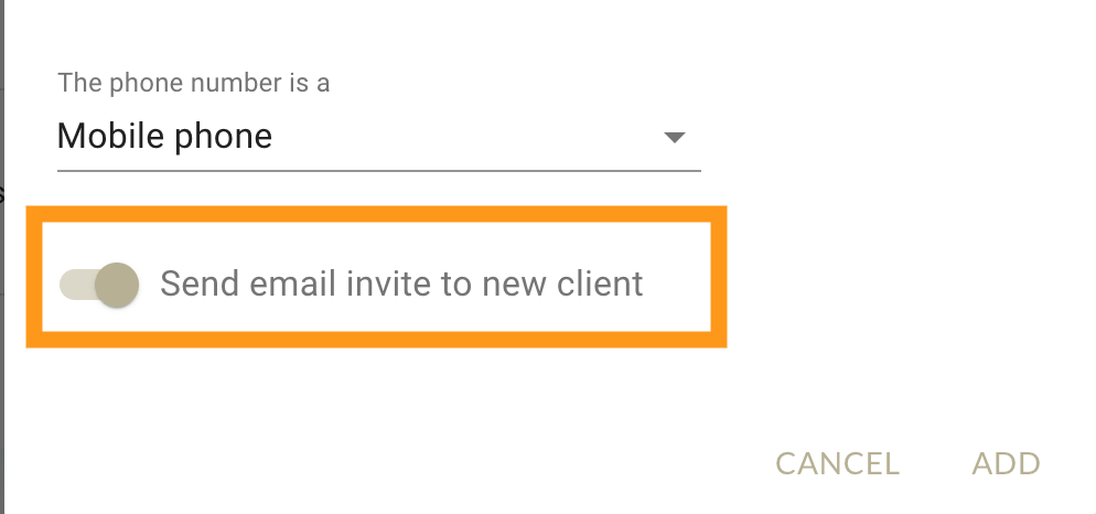 Send email invite to client in MarketBox