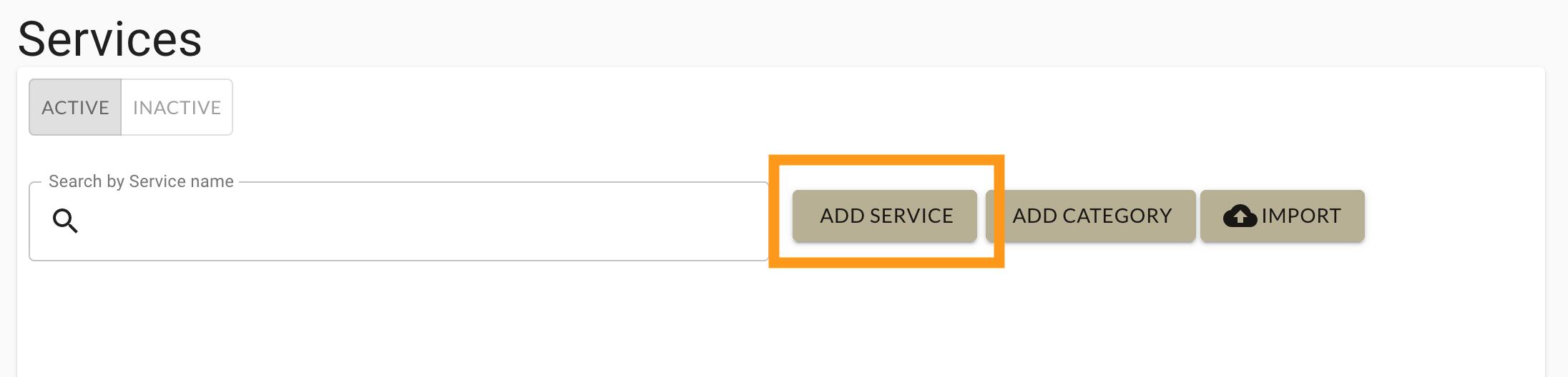 Select add service