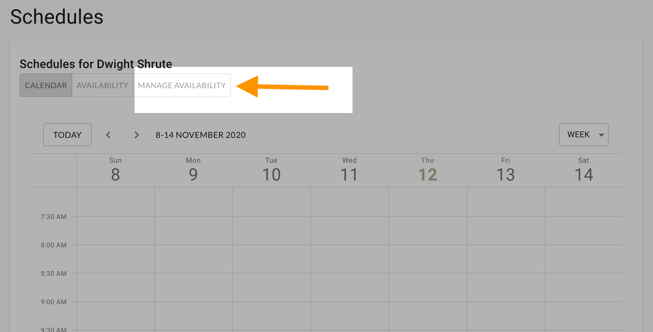 Go to manage availability to create a schedule