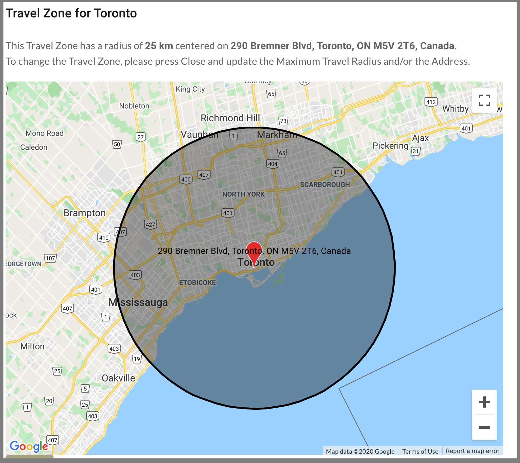 Visual representation of circular travel zone