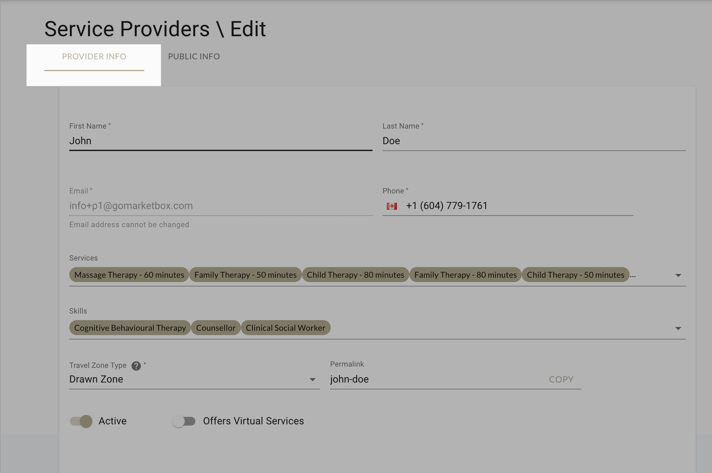 Configure and update your profile with the provider info tab