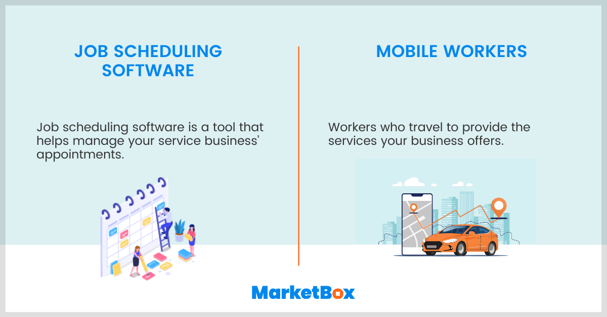 Definition of job scheduling software and mobile workers