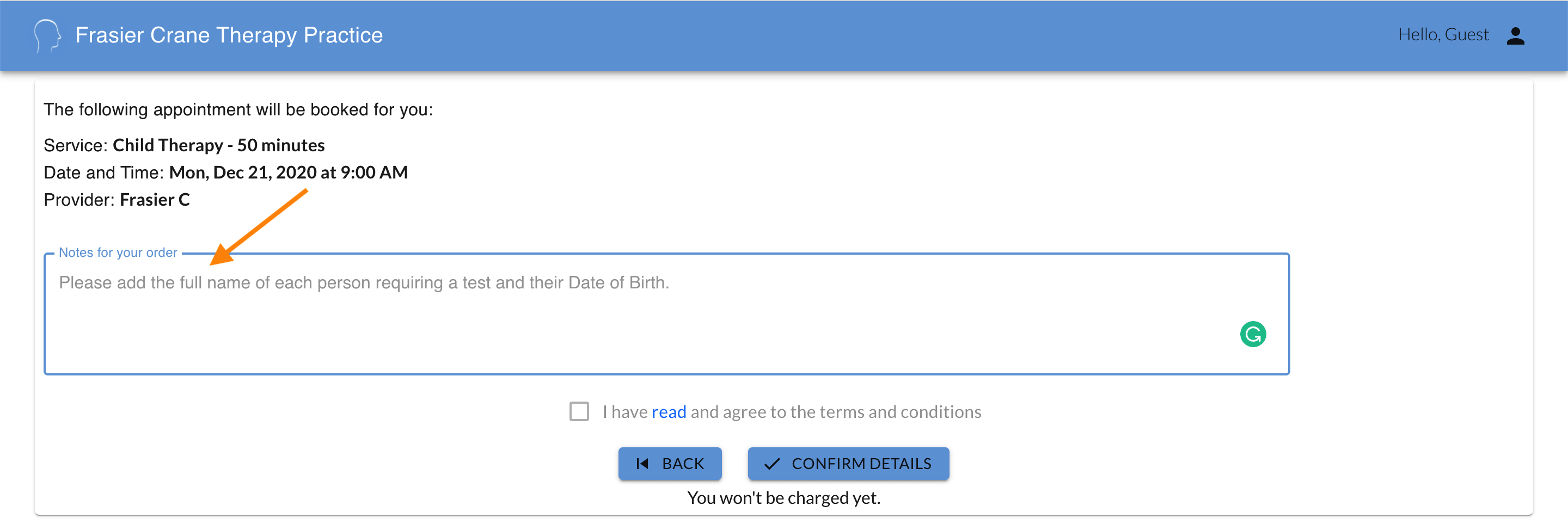 customizing text in the customer booking flow