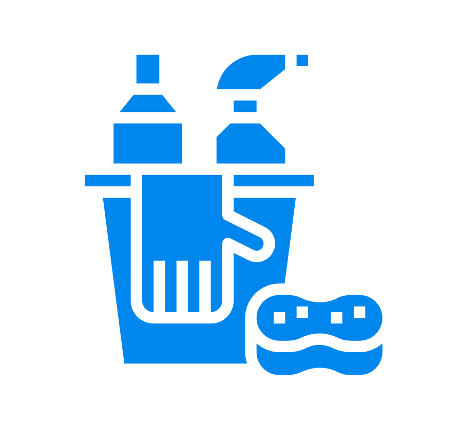 bucket, gloves, sponge, and cleaning supplies graphic