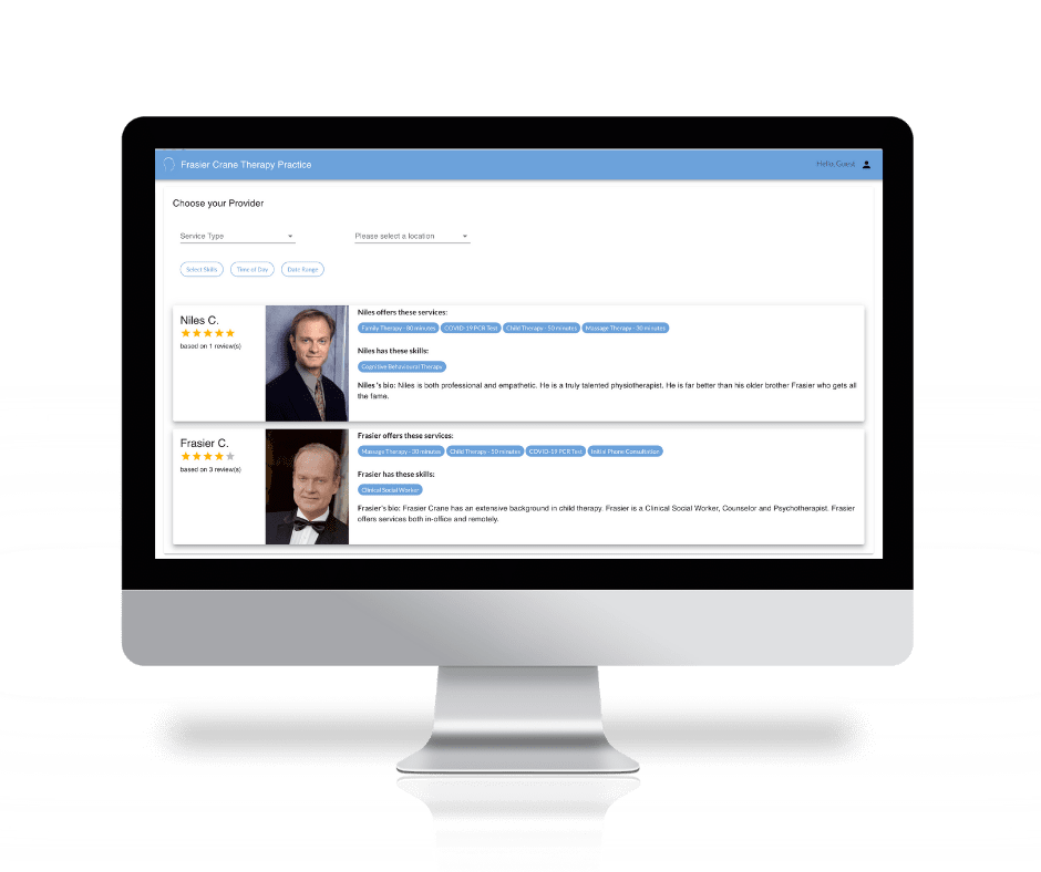 Filter and match wellness providers and patients in MarketBox