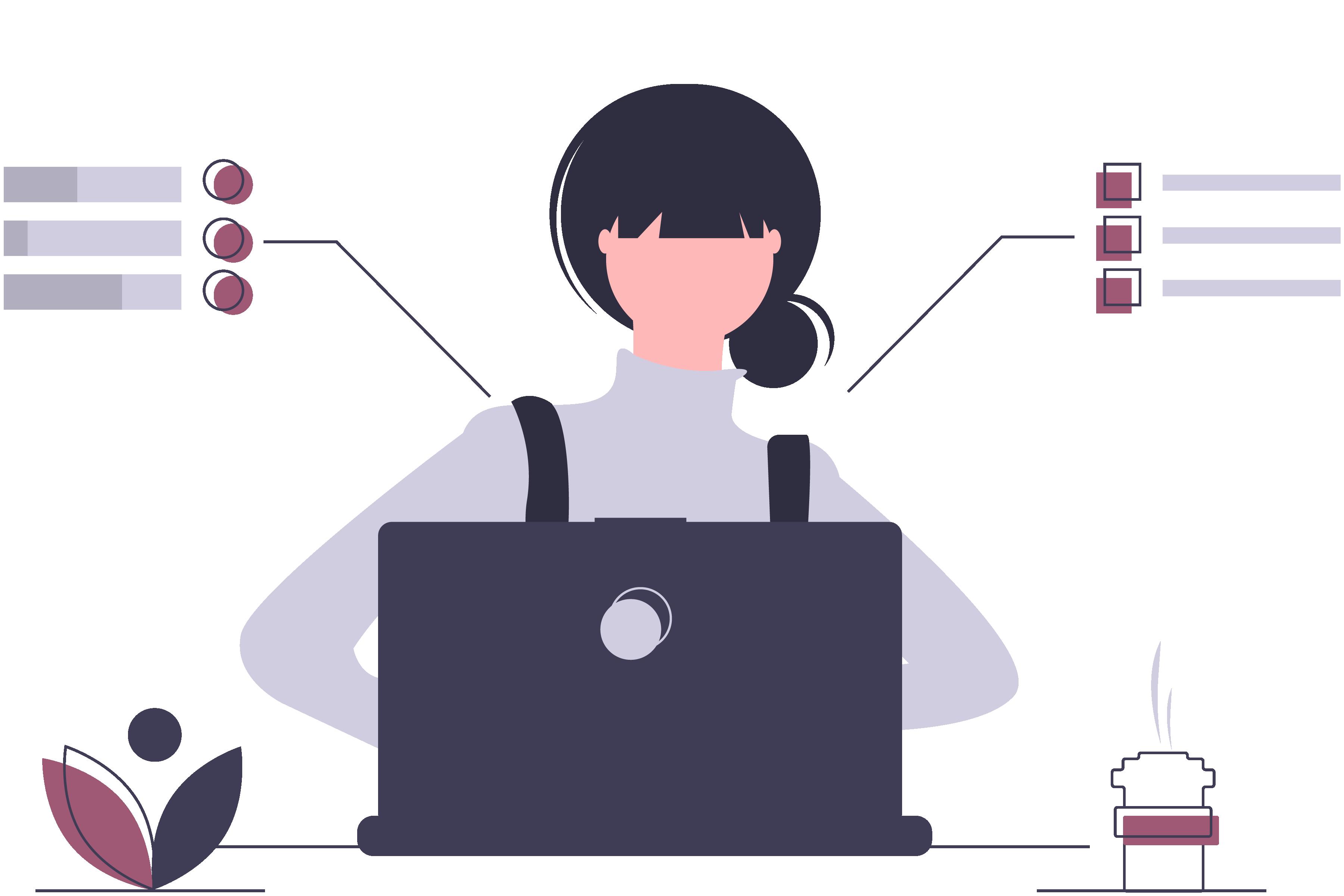 woman on computer illustration